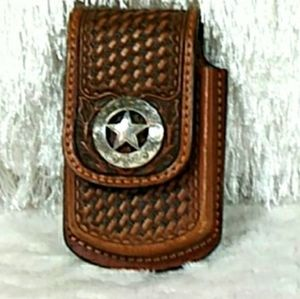 Hand-Rolled Leather and Silver Belt Clip